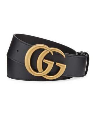d1fba31b5 Gucci Men's Running GG Logo Leather Belt
