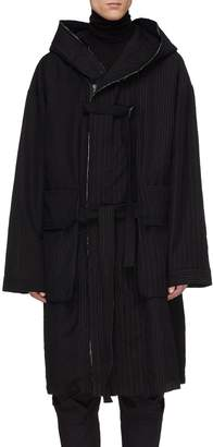 The Viridi-anne Belted hooded pinstripe panel wool-linen coat