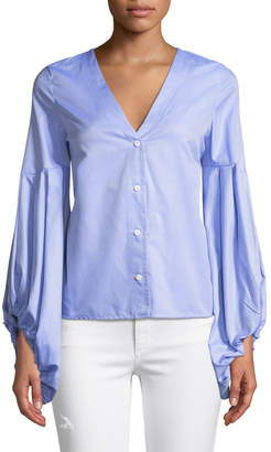 Haute Rogue Bella Balloon-Sleeve Button-Front Blouse