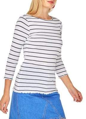 Dorothy Perkins Ruffle-Trimmed Stripe Cotton tee