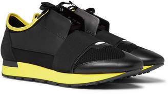 Balenciaga Race Runner Leather, Suede And Neoprene Sneakers - Black