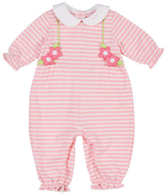 Florence Eiseman Striped Flower Peter Pan-Collar Coverall, Size 3-24 Months