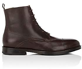 Barneys New York MEN'S SHEARLING-LINED LEATHER BOOTS-DK. BROWN SIZE 9 M