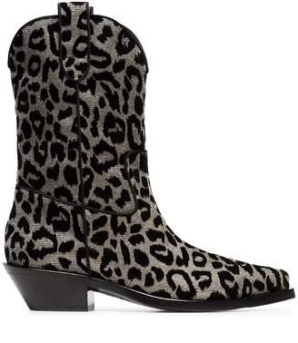 Dolce & Gabbana metallic Texan 40 leopard cowboy boots
