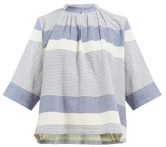 Apiece Apart Agata Shirred Striped Cotton Top - Womens - Blue White