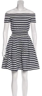 Prada Striped Off-The-Shoulder Dress