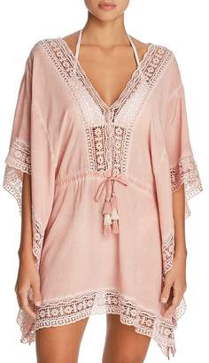 Surf.Gypsy Embroidered-Trim Tunic Swim Cover-Up