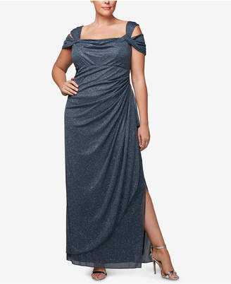 Alex Evenings Plus Size Draped Cold-Shoulder Dress