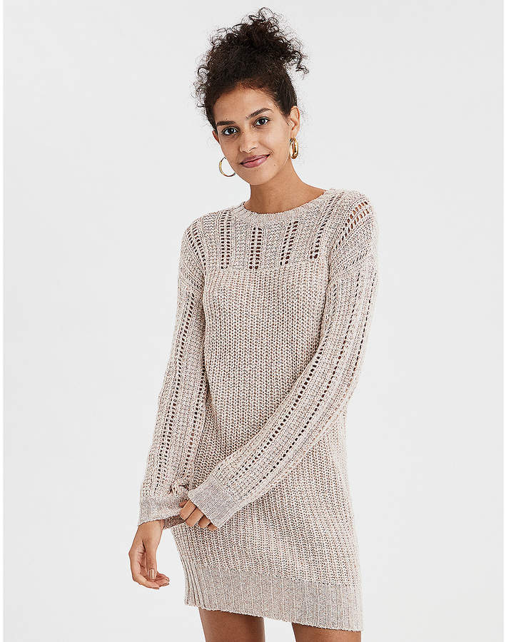 AE Mix Stitch Balloon Sleeve Sweater Dress