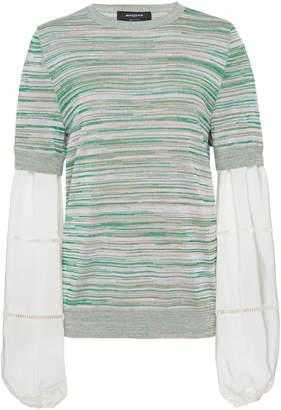 Rochas Maglia Silk-Paneled Crochet-Knit Top