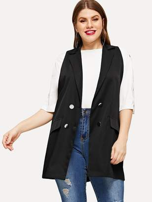 ed322016ce1af3 Shein Plus Double Breasted Sleeveless Blazer