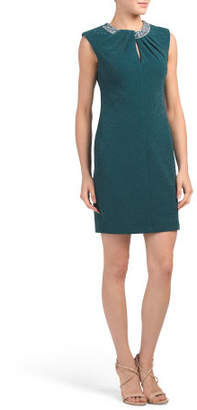 Petite Keyhole Dress With Beaded Accent