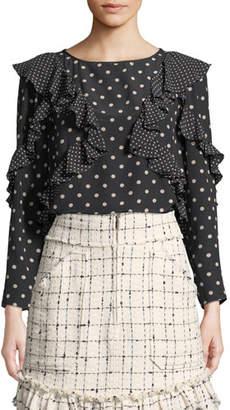 9151ad5bc5cd Rebecca Taylor Dot-Print Silk Long-Sleeve Ruffle Top