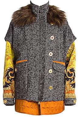 Versace Women's Faux Fur Collar Tweed Quilted Parka