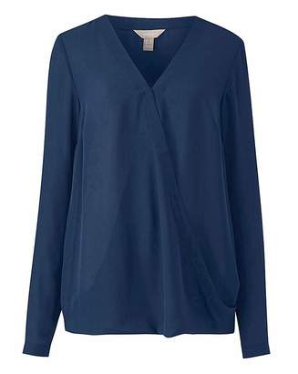 Anthology Navy Long Sleeve Wrap Blouse