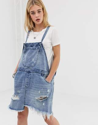 One Teaspoon denim overall dress with raw hem and rip detail
