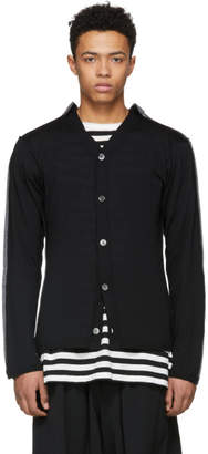 Comme des Garcons Black and Grey Wool Cardigan
