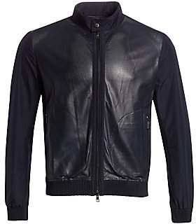 Saks Fifth Avenue Perforated Mixed Media Leather Jacket