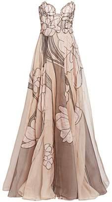 Pamella Roland Silk Organza Beaded Floral Strapless Gown