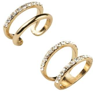 Sterling Forever Stackable Open Band CZ Midi Ring 2-Piece Set