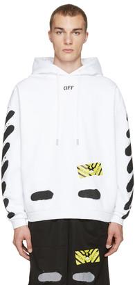 Off-White White Diagonal Spray Hoodie $545 thestylecure.com