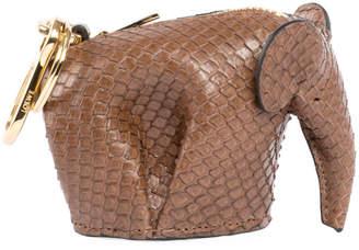 Loewe Snakeskin Elephant Bag Charm/Keychain, Brown