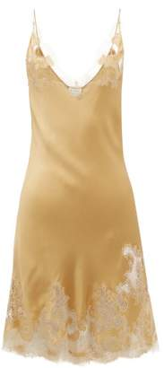 Carine Gilson Chantilly Lace Trimmed Silk Satin Nightdress - Womens - Gold