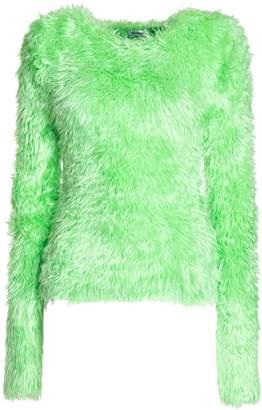 Balenciaga Crewneck Sweater In Neon Green Fluffly Knit