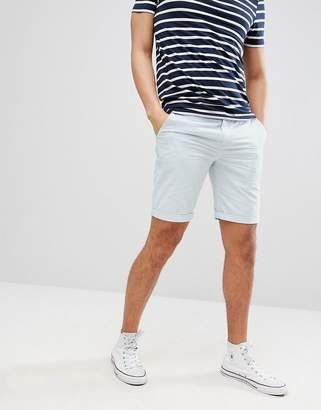 Solid Slim Fit Chino Short In Light Blue