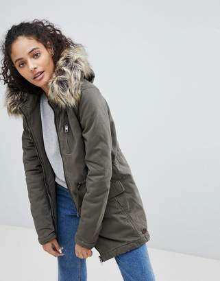 Only Macy Parka Coat with Faux Fur Hood