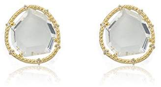 "Riccova""Sliced Glass"" 14k Gold-Plated Sliced Glass Stud Earrings"
