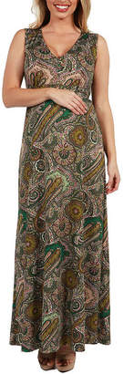 24/7 Comfort Apparel 24Seven Comfort Apparel Zooey Empire Waist Maternity Maxi Dress - Plus