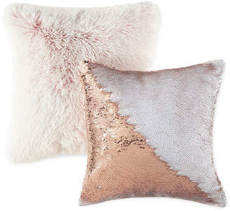 JCPenney JCP HOME Home Rose White Sequin and Furry Rose 2 Pack Throw Pillows