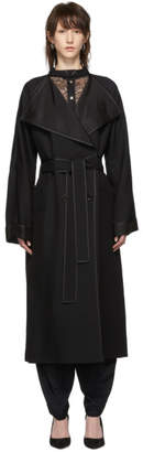 Nina Ricci Black Gabardine Overcoat