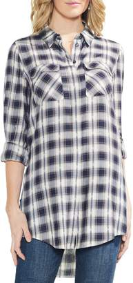 Vince Camuto Plaid Jacquard Tunic Top