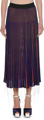 Marni A-Line Striped Knit Midi Skirt w/ Frayed Hem