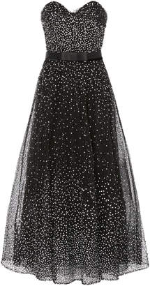 Marchesa Sequin Embroidered Strapless Cocktail Dress