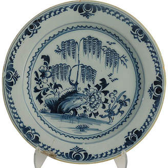 One Kings Lane Vintage Delft Chinoiserie Cabinet Plate - C. 1790 - Faded Rose Antiques LLC