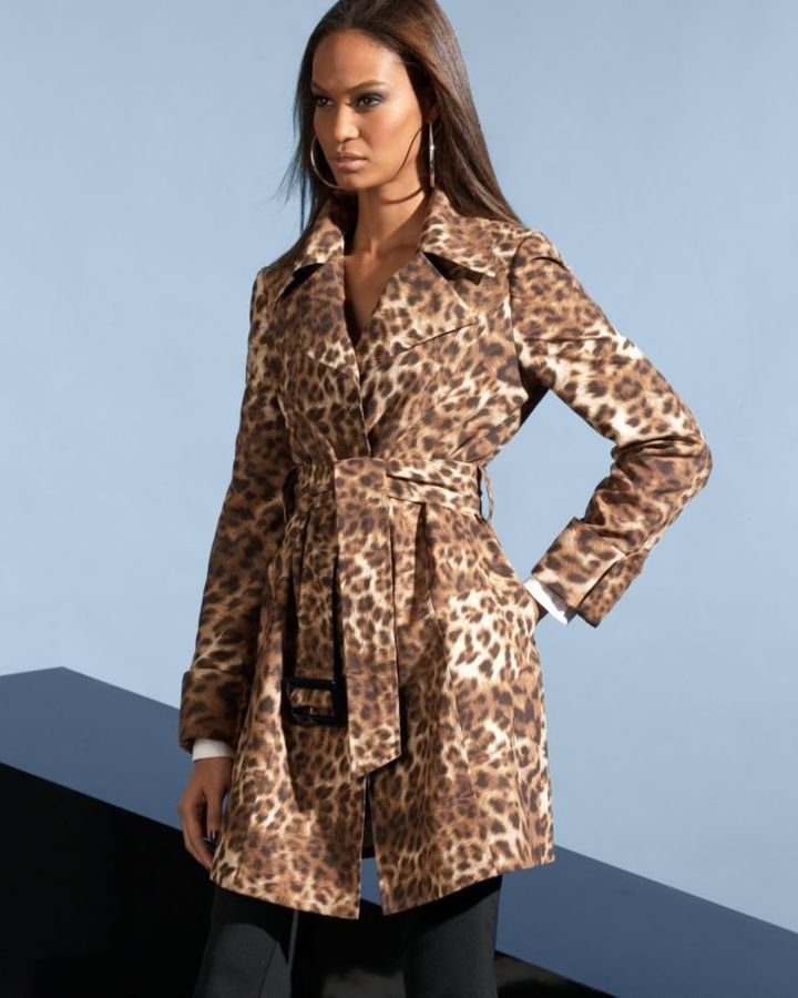 INC International Concepts Belted Leopard Print Trench Coat & 5-Pocket Skinny Ponte Pants