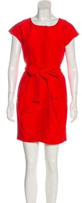 Stella McCartney Pleated Sheath Dress Red Pleated Sheath Dress