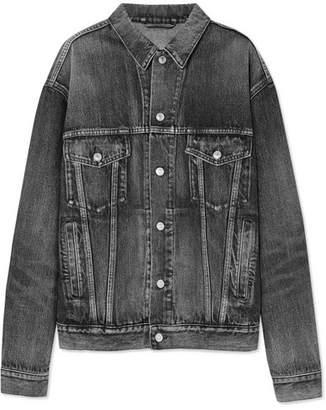 Balenciaga Oversized Logo-embossed Denim Jacket - Gray