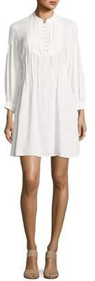 Frame Eyelet Pleated Mini Dress, Off White