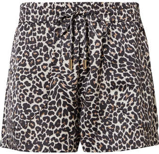 Anine Bing Ashley Leopard-print Silk-charmeuse Pajama Shorts - Leopard print