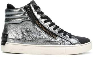 Crime London metallic hi-top sneakers