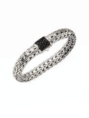 John Hardy Classic Chain Black Sapphire& Sterling Silver Large Bracelet
