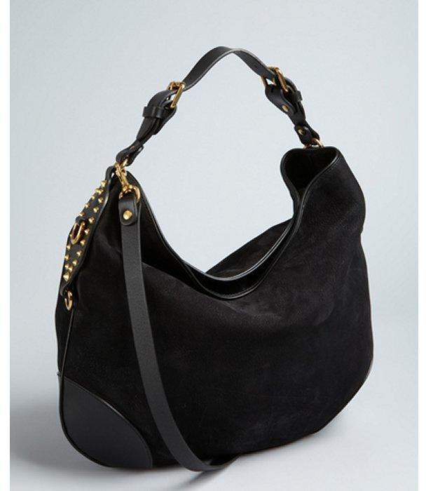 Gucci black nubuck leather studded convertible shoulder bag