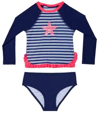 Hula Star Retro Stripe Two-Piece Rashguard Swimsuit