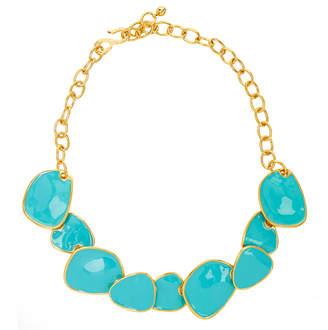 Kenneth Jay Lane Gold And Turquoise Blue Enamel Necklace