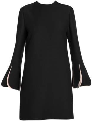 Valentino Wool & Silk Contrast Scallop Long Sleeve Shift Dress