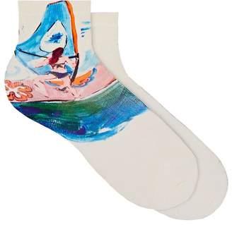 Maria La Rosa Women's Surfer-Print Silk-Blend Ankle Socks